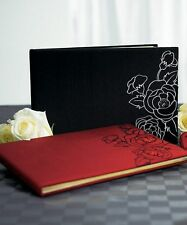 Silhouettes in Bloom BLACK Floral Wedding Guest Book