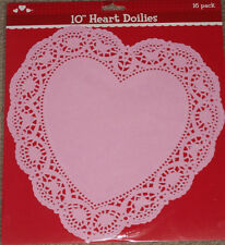 "2 NEW PACKS LOT 32 PINK HEART DOILIES 10"" PAPER LACY DOILEY VALENTINES DAY LOVE"