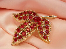 Gorgeous Vintage 1960's Cherry Red Rhinestone Flower Brooch  2578s