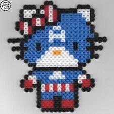 Hello Kitty - Captain America - Bead sprite perler pixel art - Perles à repasser