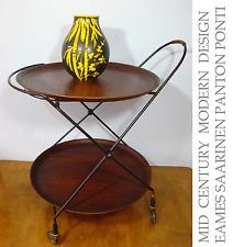 Scandinavian Design String & Teak Serving Cart JIE GANTOFTA SWEDEN Mid-Century