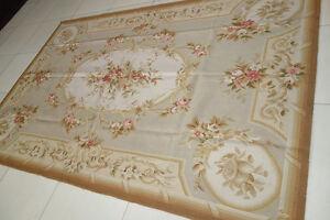 Pastel Light Tone Beige Tan Beautiful Chic Shabby Handmade Aubusson Carpet #78