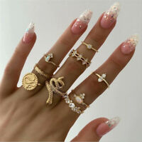 9 Pcs/set Gold Midi Finger Ring Set Vintage Punk Boho Knuckle Rings Jewelry NEW