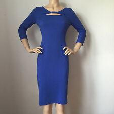 NEW ESCADA WOMENS BLUE CURACAO KNIT DRESS SIZE 12 VISCOSE SPANDEX