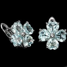 Sterling Silver 925 Heart faceted Cut Genuine Natural Sky Blue Topaz Earrings