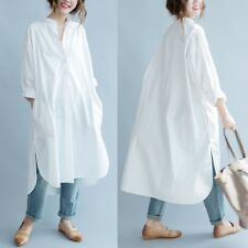 White Women's Cotton Maxi Loose Long Button-Down Casual Shirt Dress Plus Size