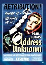 Address Unknown 1944 (DVD) Paul Lukas, Carl Esmond, K.T. Stevens New!