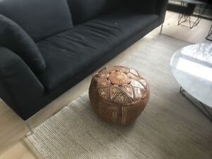 Tan Moroccan Leather Pouf Pouffe Footstool  Ottoman or use as Coffee Table