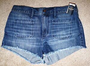 NEW Hollister Medium Wash High Rise Cutoff Short Shorts Size 9 W29 NWT
