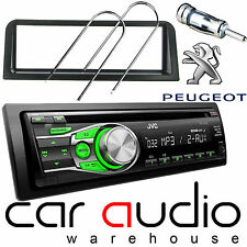 Peugeot 106 JVC CD MP3 AUX GREEN Display Car Stereo Radio Player & Fitting Kit