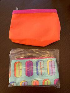 Lot 2 CLINIQUE Makeup Cosmetic Case Bag Travel LETTER C Aqua Solid Orange Pink