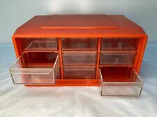 Vintage 9 Drawer Akro Mils Small Parts Drawer Cabinet Orange Plastic Mid Century