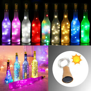 1M 2M LED Solar String Copper Fairy Lights Cork Wire Wine Bottle Home Decor EM