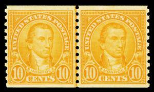 Scott 603 1924 10c Monroe Coil Issue Mint Joint Line Pair F-VF OG NH Cat $50