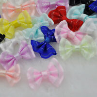 30pcs Upick Mini Ribbon Bows DIY Sewing Appliques Crafts Wedding Deco E159