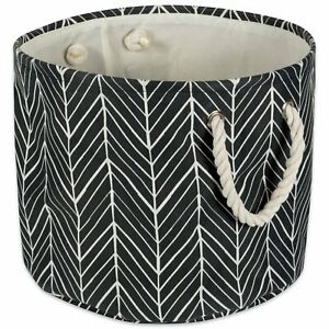 Polyester Bin Herringbone Black Round Medium 12X15X15