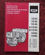 HATZ 1D20 1D30 1D40 A1D35 A1D40 1D60 1D80 DIESEL ENGINE PARTS CATALOG MANUAL