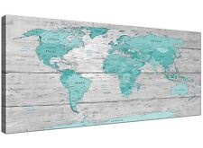 Large Teal Grey Map of World Atlas Canvas Wall Art Print 120cm Wide - 1299