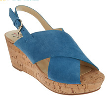 Isaac Mizrahi Live! Suede Cross Band Wedge Sandals Pacific Blue Women's 12 New