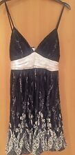 CAROLINA black white bubble dress satin spaghetti straps back tie L New w tags
