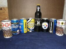8 different PITTSBURGH STEELERS commemorative beer containers