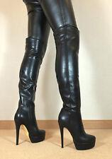 Gr.46 TOP ! Exklusiv Sexy Damen Schuhe Overknee Stiletto Stiefel Männer Boots D6