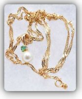 """❤️Vintage 14k Yellow Gold Pearl Green Emerald Pendant 24"""" Chain Necklace❤️"""
