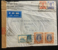 1941 Calcutta India Airmail Commercial Censored Cover To New Bremen OH USA