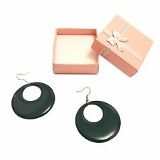 Green Circle Drop Earrings Glitter Stone Earring in a Christmas Gift Box