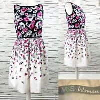 M&S Woman Black White Floral A-Line Dress Size 12 Summer Wedding Occasion
