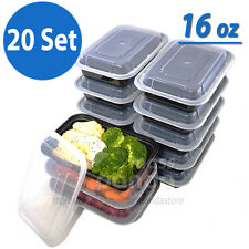 16 oz Meal Prep Containers Lunch Box 20 Set, High Quality Plastic Made in U.S.A.