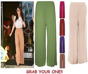 New plus size women's plain PALAZZO wide leg flared ladies trousers pants 8-26