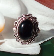 Anillo Flores Ónix Negro Piedra de Aries Plata Esterlina 925 17,8 Mm