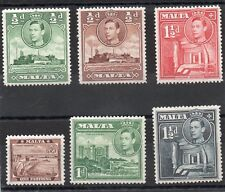 Malta  GV1 1938-43 6 low val. to 1.1/2d sg 217-218a, 219a-220b H.Mint