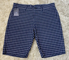 Ben Sherman Men's Navy Blue White Plaid Casual Shorts New With Tags Size 33