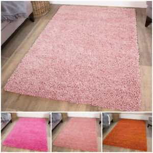 PINK SHAGGY RUGS 40mm HIGH PILE NON SHED THICK SOFT LIVING ROOM FLOOR BEDROOM