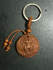 Unisex Hand-carved Detailed Wooden Round Tiger Key Chain, Key Ring, Bag Charm