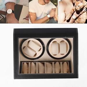 4+6 Auto-Watch Winder Automatic Rotation PU Leather Watch Storage Display Box AU