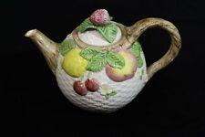 "Mint Fitz & Floyd Super Teapot ""Fruits In The Basket"" 1990 42oz"
