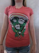 ED HARDY by Christian Audigier Bamboo Stick Red Orange T Shirt Top XSmall NWT
