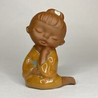 Vintage Uctci Japan Vintage 60s-70s Terra Cotta Girl Figurine Yellow Dress Blue