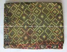 Vintage Kantha Quilt Ralli Reversible Indian Old Blanket Throw 100%Cotton Sari