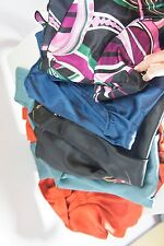 Lot 5 S Women's Dressy Career Tops Silky Polyester Slvls L/S Belted Solid Print