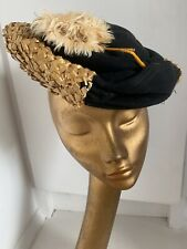 Vtg French 1950s Straw Black Wool Feather Cocktail Fascinator Hat