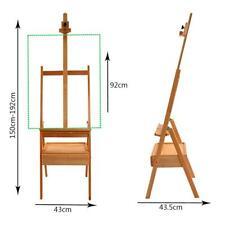 Large Wooden H-Frame Studio Easel with Artist Storage Drawer Shelf Adjustable