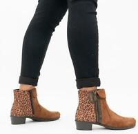 Rieker Y0752-24 Ladies Womens Autumn Casual Side Zip Ankle Boots Brown/Leopard