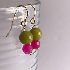 14K Gold Filled Pink Green Jade & Pink Faceted Bead Earrings Handmade in Aus!