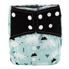 Baby Cloth Diaper Nappy Cover Bamboo Charcoal Reusable Gussets Polar Bear