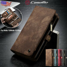 For Samsung Note 10/10+ Plus Magnetic Removable Leather Zipper Wallet Case Cover