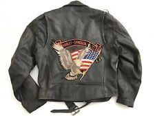 Harley Davidson Open Road American Flag Eagle Leather Jacket Men's 40 Black